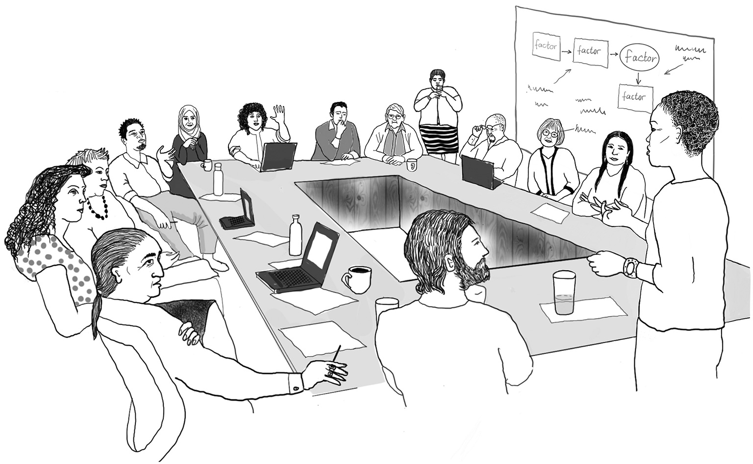 A typical program team is responsible for developing an explicit strategy for going to scale. Illustration by Anna Balla, from Pathways to Success, forthcoming from Island Press.
